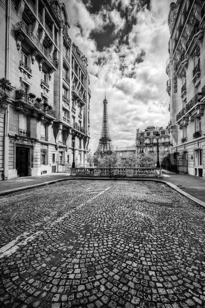 Eiffel Tower seen from the street in Paris, France. Black and white Stock photo © photocreo