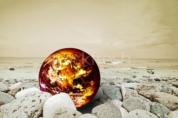 Opwarming van de aarde aarde ramp brand wereldbol natuur Stockfoto © photocreo