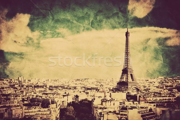 Foto stock: Ver · Torre · Eiffel · Paris · França · retro · vintage