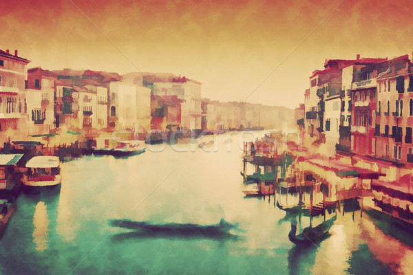 Vintage painting of Venice, Italy. Gondola floats on Grand Canal Stock photo © photocreo