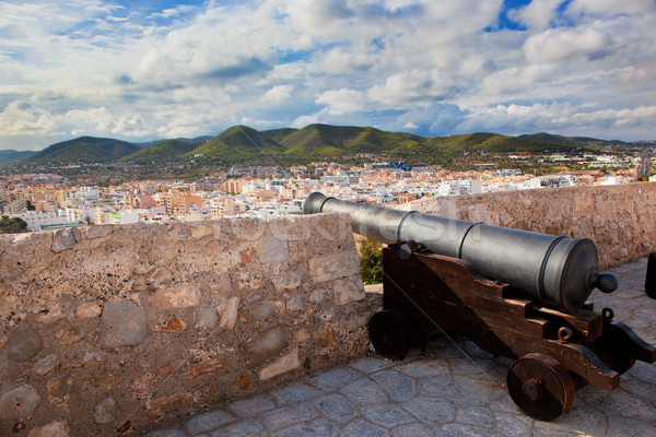 Cannon and panorama of Ibiza, Spain Stock photo © photocreo