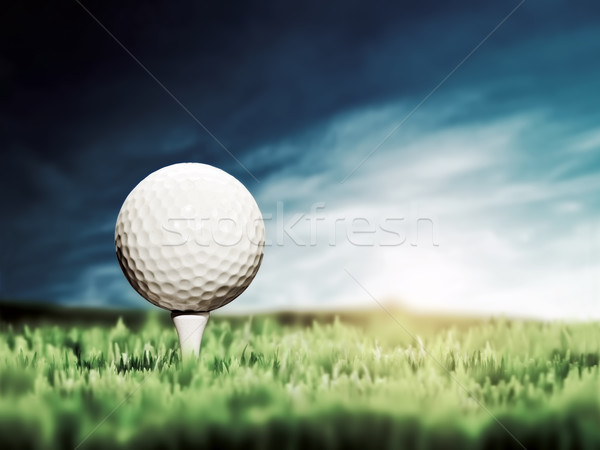 Stock photo: Golf ball placed on white golf tee on green grass golf course
