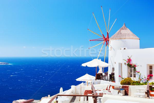 Stock fotó: Híres · város · Santorini · sziget · Görögország · szirt