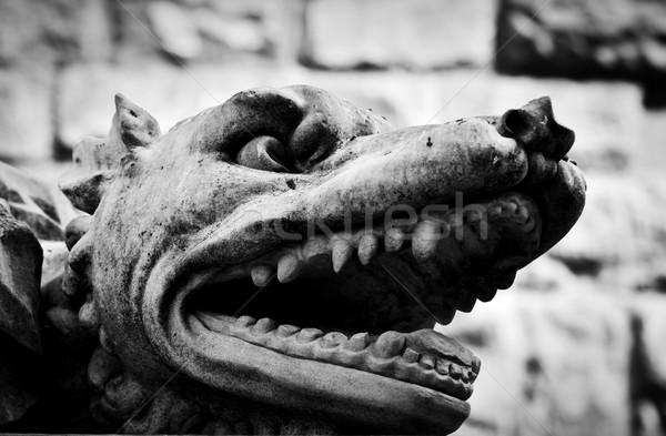 Antigo estilo escultura zangado lobo florence Foto stock © photocreo