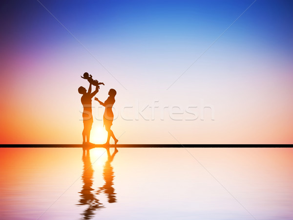 Stock photo: Happy family together, parents celebrating their little child
