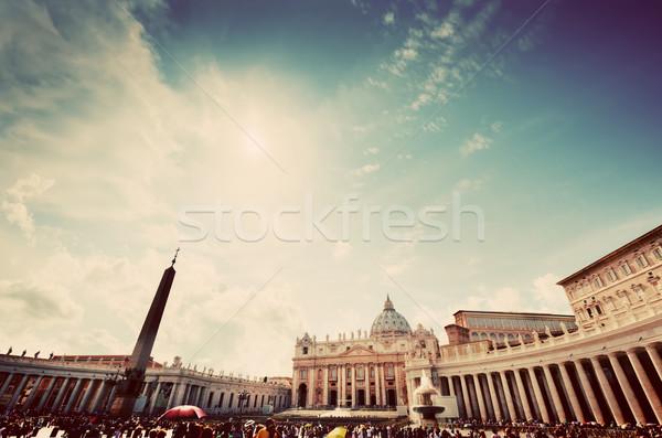 Tér Vatikán kilátás bazilika épület nap Stock fotó © photocreo