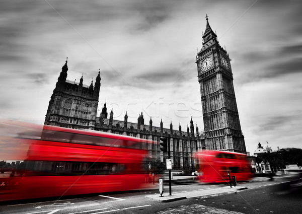Londres rouge Big Ben palais westminster blanc noir Photo stock © photocreo