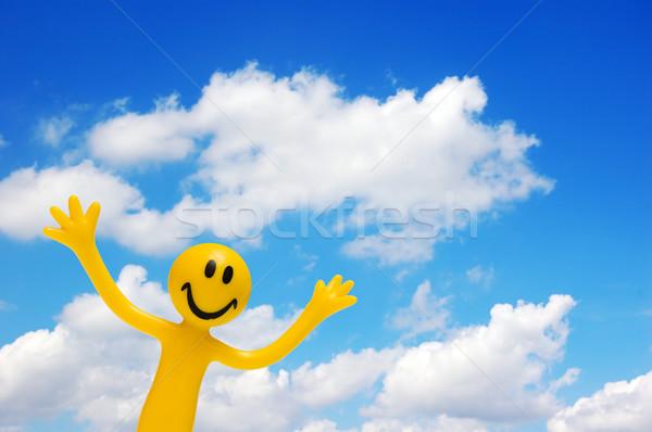 Blij gezicht blauwe hemel voorjaar hand abstract Stockfoto © photocreo