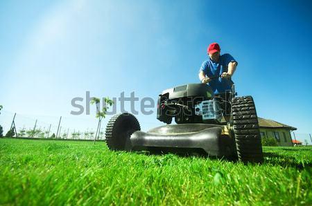 ストックフォト: 芝生 · 男 · ガーデニング · 空 · 花 · 家