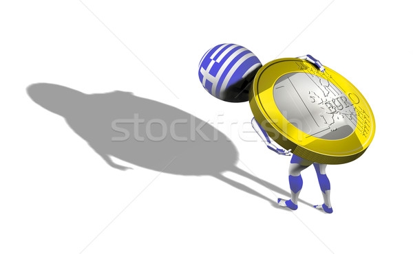 A little 3d guy in Greece flag carrying 1 euro Stock photo © photocreo