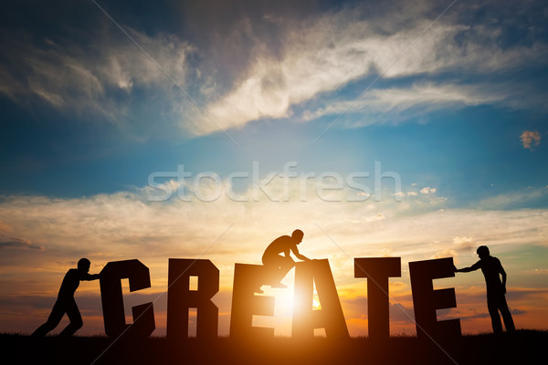 People connect letters to compose the CREATE word. Creativity, making art, teamwork Stock photo © photocreo