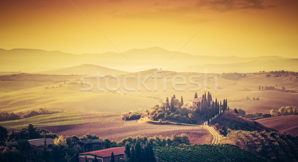 Tuscany, Italy landscape. Super high quality panorama taken at wonderful sunrise. Stock photo © photocreo