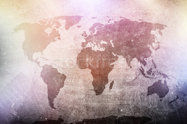 Мир карта Гранж конкретные стены красочный Сток-фото © photocreo