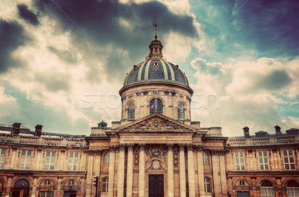 Institut de France in Paris. Famous cupola, dome against clouds Stock photo © photocreo