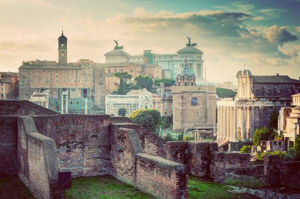 Rome, Italy vintage skyline. Roman Forum and Altare della Patria Stock photo © photocreo