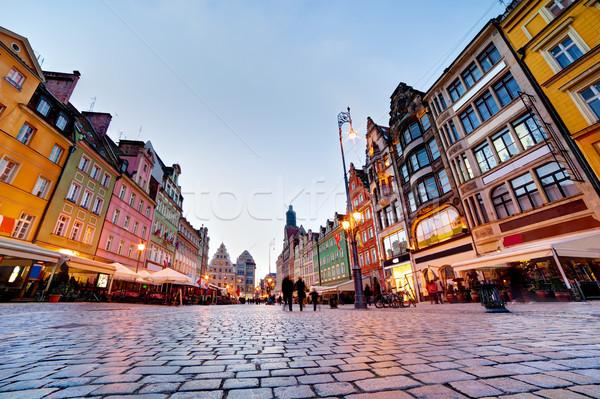 Lengyelország régió piac tér este színes Stock fotó © photocreo