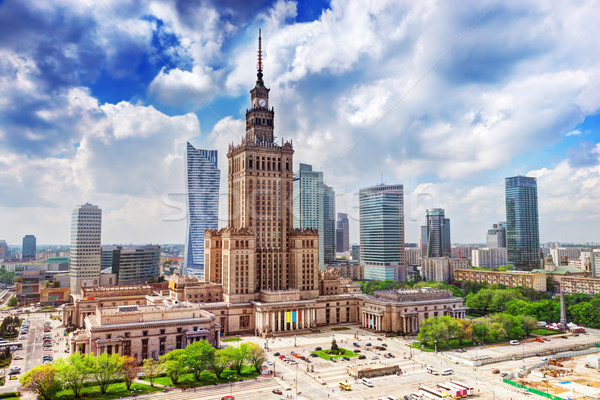 Warsaw, Poland. Palace of Culture and Science and skyscrapers, downtown. Stock photo © photocreo