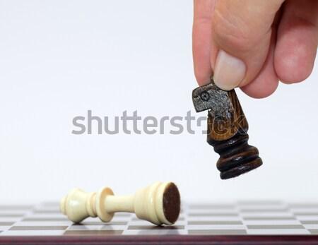 Vincitore perdente scacchi mano tavola bianco Foto d'archivio © photocreo