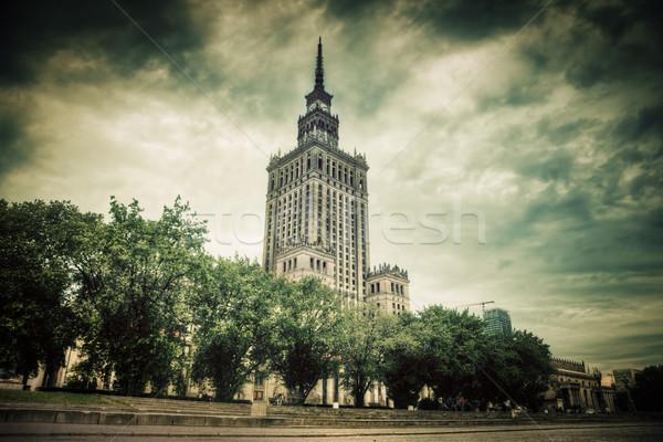 Paleis cultuur wetenschap Warschau Polen retro Stockfoto © photocreo