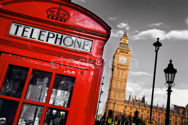 Rood telefoon kraam Big Ben Londen Engeland Stockfoto © photocreo