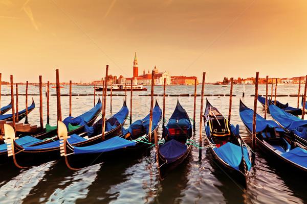 Venice, Italy. Gondolas on Grand Canal at sunset Stock photo © photocreo