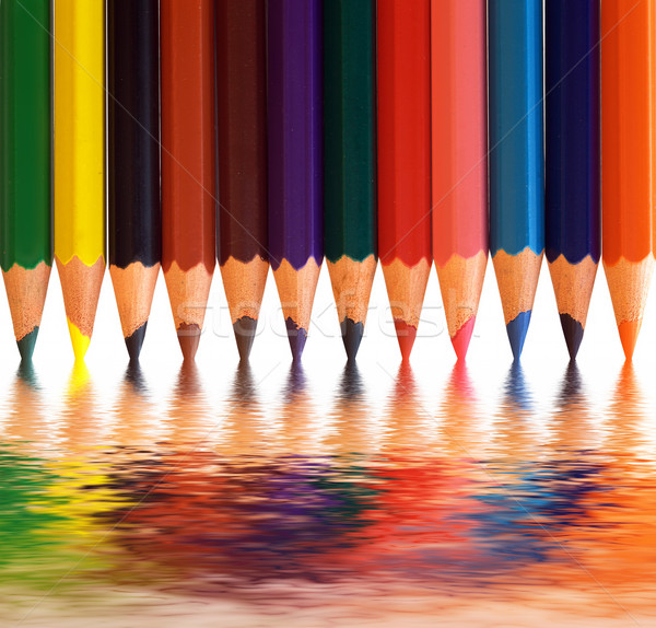 Colorful pencils with abstract reflection. Creative concepts. Stock photo © photocreo