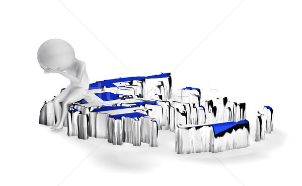 Сток-фото: Греция · кризис · 3D · парень · сидят · карта