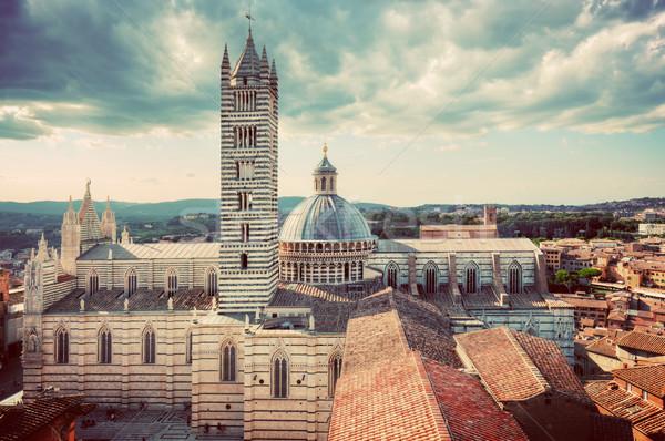 Siena, Italy panorama city view. Siena Cathedral, Duomo di Siena. Vintage Stock photo © photocreo