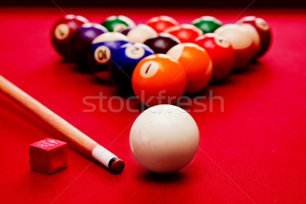 Billards pool game. Cue ball, cue color balls in triangle, chalk Stock photo © photocreo