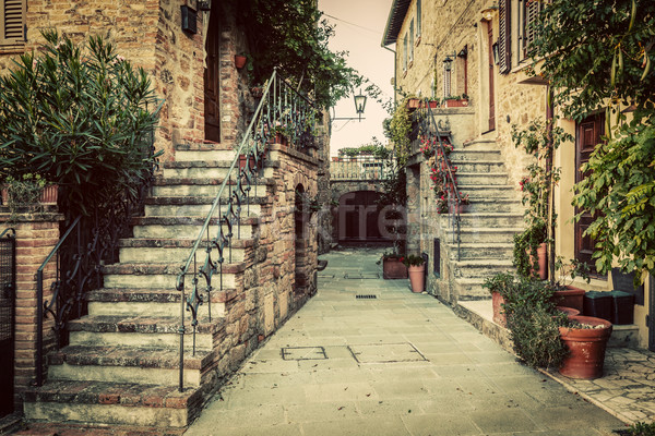 Stock photo: Charming old medieval architecture in a town in Tuscany, Italy.