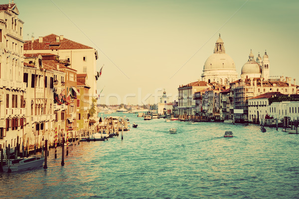 Venice, Italy. Grand Canal and Basilica Santa Maria della Salute. Vintage Stock photo © photocreo