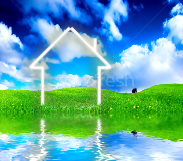 New house imagination vision on green meadow. Stock photo © photocreo