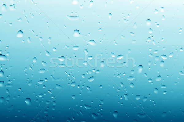 Water drops on clean glass blue background Stock photo © photocreo