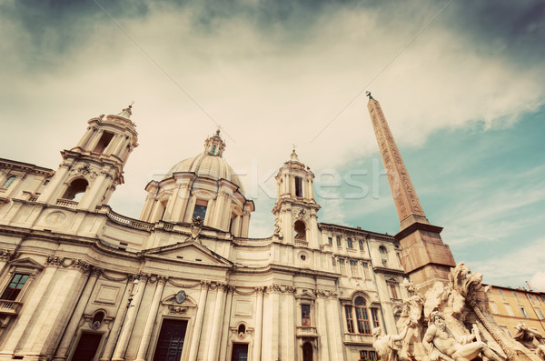 Sant'Agnese in Agone church on Piazza Navona, Rome, Italy. Vintage Stock photo © photocreo