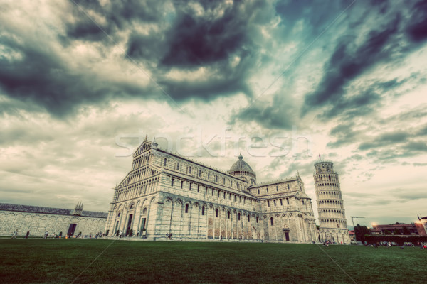 Pisa Cathedral with the Leaning Tower of Pisa, Tuscany, Italy. Vintage Stock photo © photocreo
