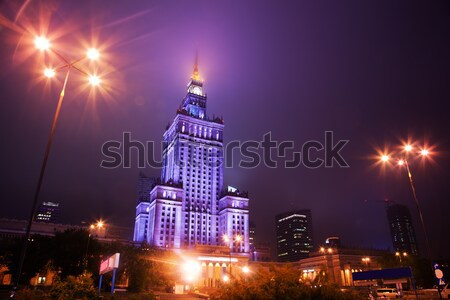 Varsovie Pologne centre-ville Skyline nuit palais Photo stock © photocreo