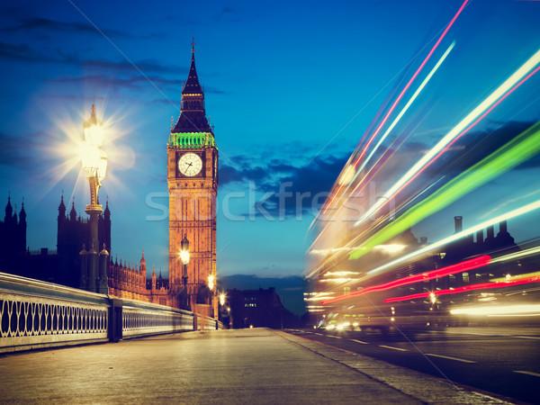 Лондон красный автобус движения большой Бен ночь Сток-фото © photocreo
