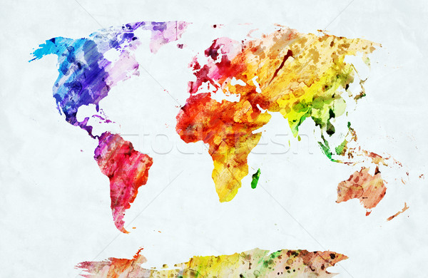 Aquarela mapa do mundo colorido pintar branco papel Foto stock © photocreo