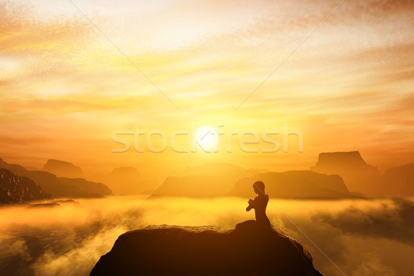 Woman meditating in sitting yoga position on the top of a mountains Stock photo © photocreo