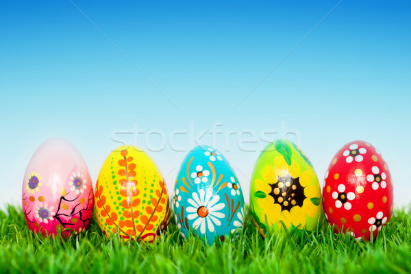 Feito à mão ovos de páscoa grama primavera padrões único Foto stock © photocreo
