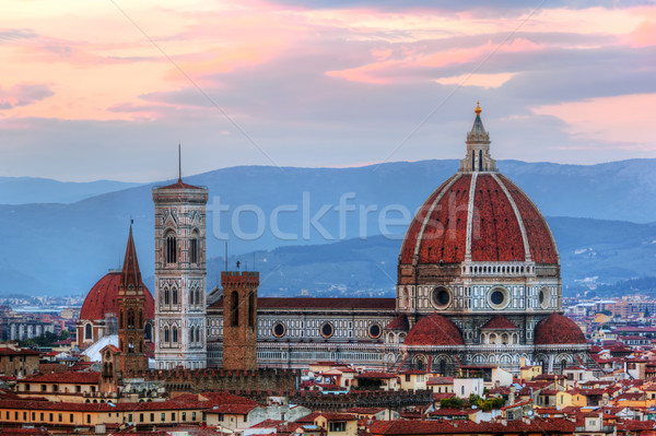 Florence, Italy sunset skyline. Cathedral of Saint Mary of the Flowers Stock photo © photocreo