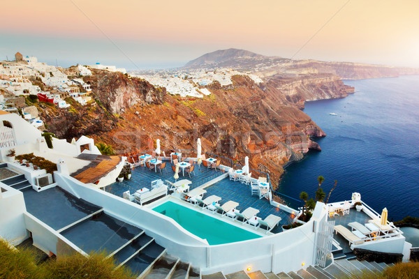 Fira, the capital of Santorini island, Greece at sunset Stock photo © photocreo
