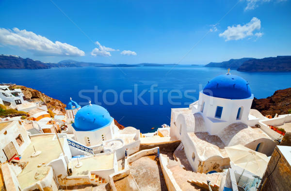 Oia town on Santorini island, Greece. Aegean sea Stock photo © photocreo