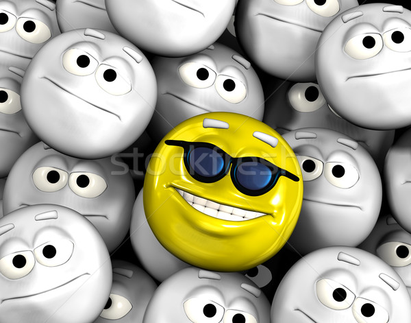 Happy smiling emoticon face among others Stock photo © photocreo