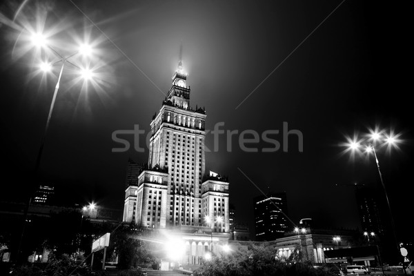 Varsovie Pologne centre-ville Skyline nuit blanc noir Photo stock © photocreo