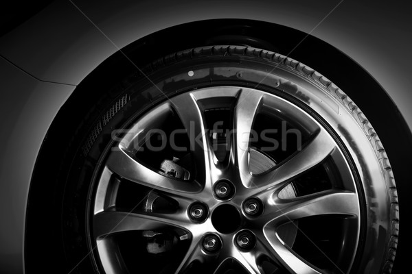 Close-up of aluminium rim of luxury car wheel Stock photo © photocreo
