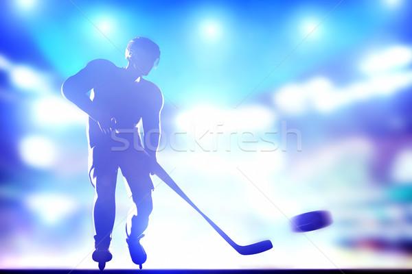 Jégkorongozó lövöldözés gól aréna éjszaka fények Stock fotó © photocreo