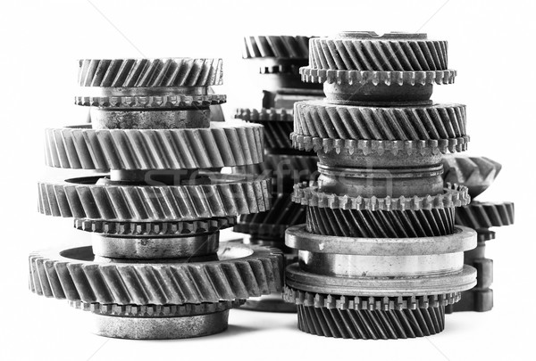 Gears, grunge cogwheels, real engine elements on white. Heavy industry Stock photo © photocreo