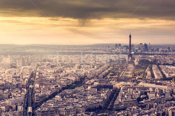 Paris França linha do horizonte pôr do sol Torre Eiffel romântico Foto stock © photocreo
