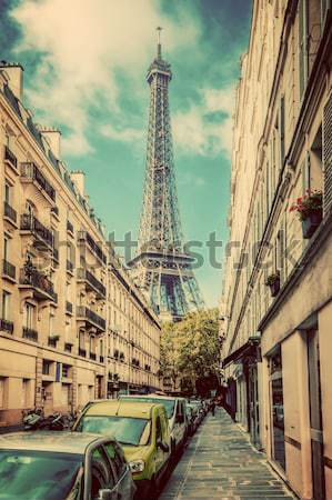 Eiffel Tower seen from the street in Paris, France.  Cobblestone pavement Stock photo © photocreo